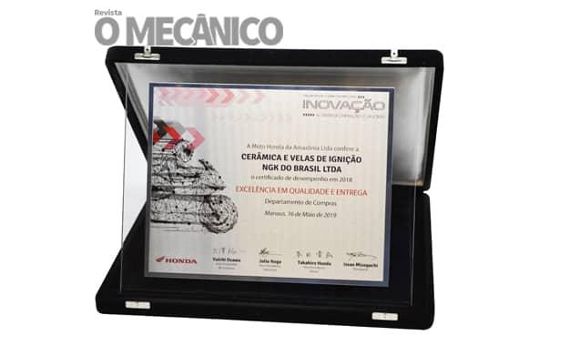 NGK é reconhecida pela Moto Honda da Amazônia
