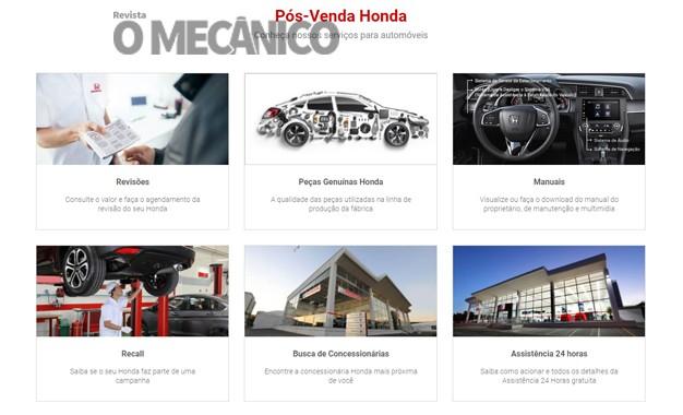 Honda traz novidades em seu portal de pós-venda
